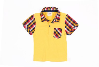 Nahshonbaby Checkered, Solid Baby Boy's Polo Neck Yellow T-Shirt