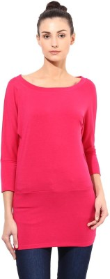 T-shirt Company Solid Women's Round Neck Pink T-Shirt