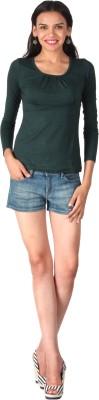 Remanika Solid Women's Round Neck Green T-Shirt