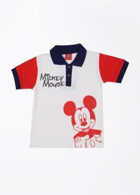 CHERISHKNITS Printed Boy's Polo White, Red T-Shirts