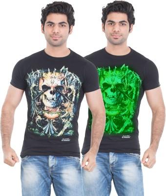 Zulements Printed Men's Round Neck Black T-Shirt