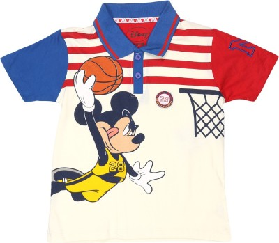 Mickey & Friends Printed Boy's Polo Neck T-Shirt