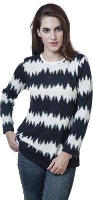 Rute Striped, Printed Women's Round Neck White, Black T-Shirt