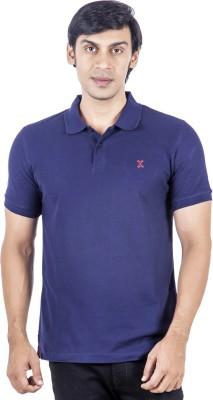 X-Tint Solid Men's Polo Neck Dark Blue T-Shirt