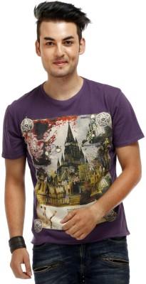 Chlorophile Printed Men's Round Neck Purple T-Shirt
