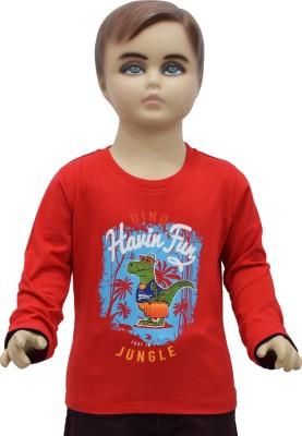 Urban Forest Graphic Print Boy's Round Neck Red T-Shirt
