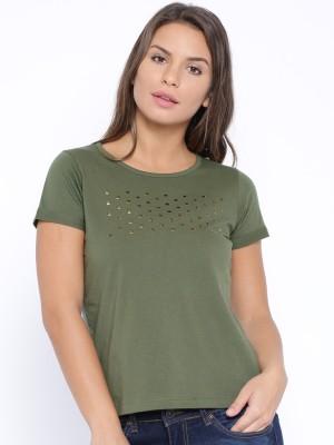 Cult Fiction Self Design Women's Round Neck Dark Green T-Shirt