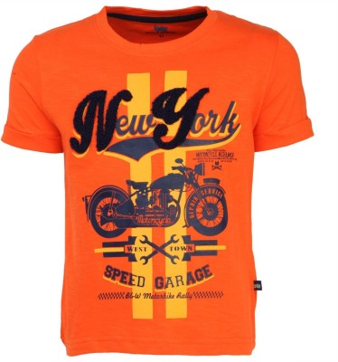 Bells and Whistles Printed Boy's Round Neck Orange T-Shirt