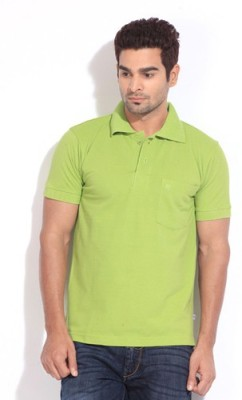 Happy Hours Solid Men's Polo Neck Green T-Shirt