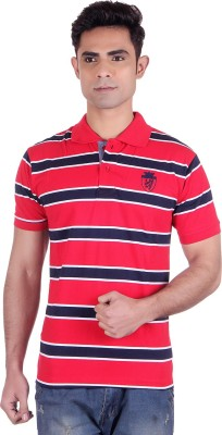 District London Checkered Men's Polo Neck Red T-Shirt