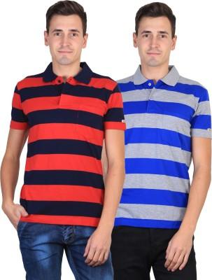 Duke Striped Men's Polo Neck Grey, Blue, Red T-Shirt