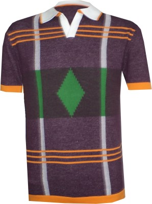 Tick Lish Striped Men's Polo Purple, Orange, Green T-Shirt