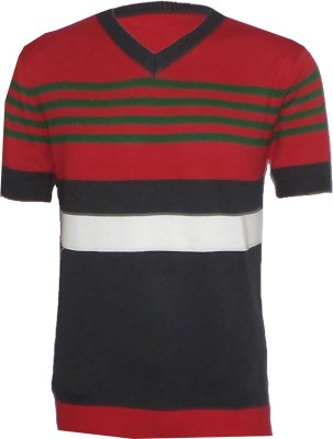 Tick Lish Striped Men's V-neck Red, Green, Black T-Shirt