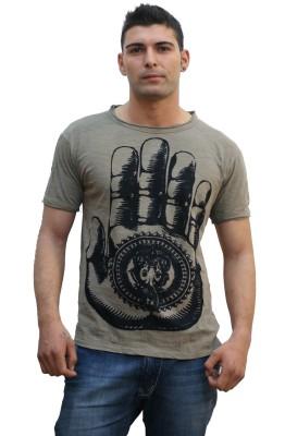 TUNTUK Printed Men's Round Neck Beige T-Shirt