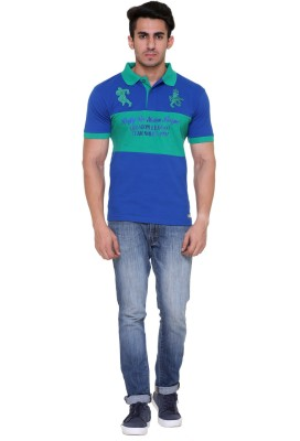 M&E Embroidered Men's Polo Neck Blue T-Shirt