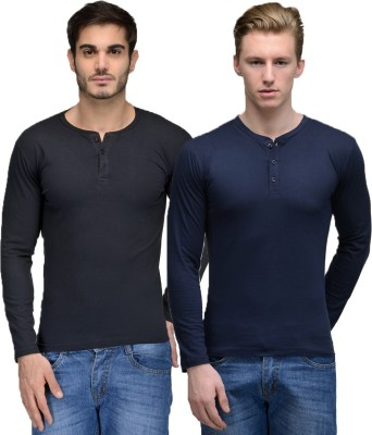 Feed Up Solid Men's Henley Black, Dark Blue T-Shirt