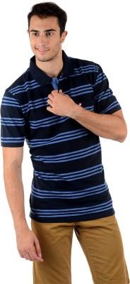 Mudo Striped Men's Polo Neck Dark Blue T-Shirt