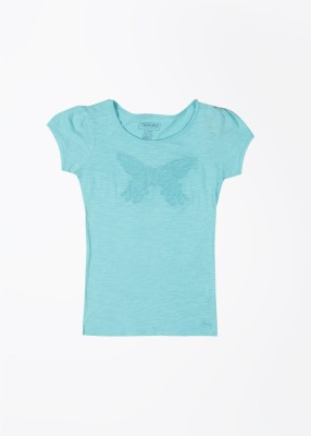 Cherokee Kids Solid Girl's Round Neck Blue T-Shirt