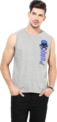PUNK Printed Men,s Round Neck Grey T-Shirt