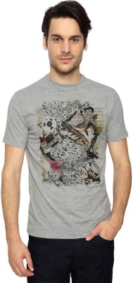 Peter England Graphic Print Men's Round Neck Grey T-Shirt