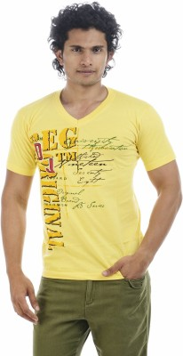 Shapers Printed Men's V-neck Yellow T-Shirt