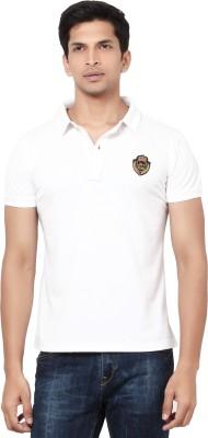 La Seven Solid Men's Polo Neck White T-Shirt