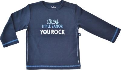 Babeez Solid Baby Boy's Round Neck Dark Blue T-Shirt