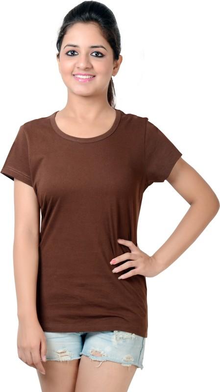 Neevov Solid Women's Round Neck Brown T-Shirt
