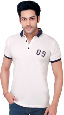 GoPlay Solid Men's Polo Neck White T-Shirt