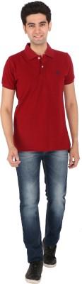 Tasho Zaara Solid Men's Polo Neck Maroon T-Shirt