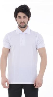 Burdy Solid Men's Polo Neck White T-Shirt