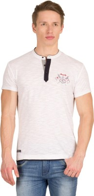Wilkins & Tuscany Solid Men's Henley White T-Shirt