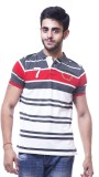 Unicott Striped Men's Polo Neck Red, Red...