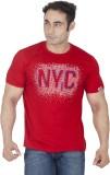 ISHWA Graphic Print Men's Round Neck Red...