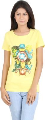 MA Printed Women's Round Neck Yellow T-Shirt