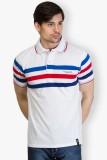 Taanz Striped Men's Polo Neck White T-Sh...