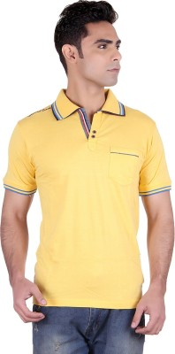 District London Solid Men's Polo Neck Yellow T-Shirt