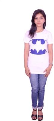 Himgiri Printed Women's Round Neck White T-Shirt