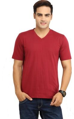 WallWest Solid Men's V-neck Maroon T-Shirt