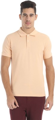 Zobello Solid Men's Polo Neck Orange T-Shirt