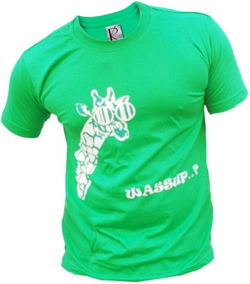 Rolling Ink Printed Men's Round Neck Green T-Shirt