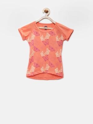 YK Printed Girl's Round Neck Orange T-Shirt