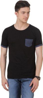 FROST Solid Men's Round Neck Black T-Shirt