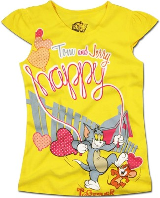 Super Drool Graphic Print Girl's Round Neck Yellow T-Shirt
