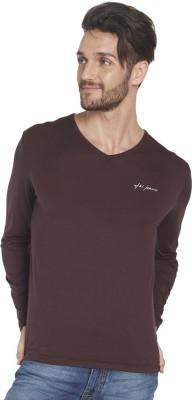 Globus Solid Men's V-neck Brown T-Shirt