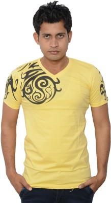 Lampara Printed Men's V-neck Yellow T-Shirt