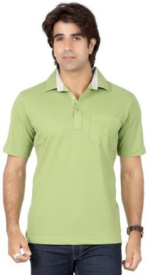 Valeta Solid Men's Polo Neck Light Green T-Shirt