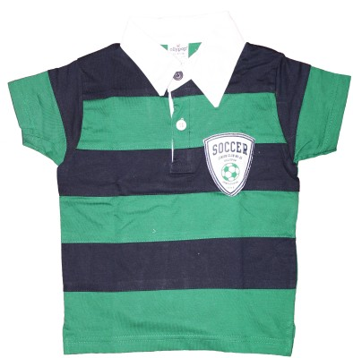 Ollypop Striped Baby Boys Polo Green T-Shirt