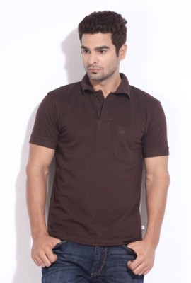 Happy Hours Solid Men's Polo Neck Brown T-Shirt