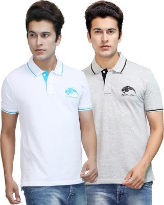 CATAMONT Solid Men's Polo White, Grey T-Shirt
